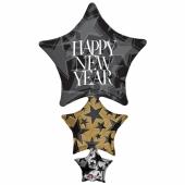Großer Luftballon zu Silvester, Happy New Year Stars, Ballon mit Helium