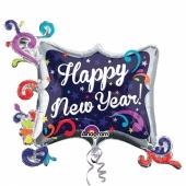 Großer Cluster Luftballon aus Folie zu Silvester und Neujahr, Happy New Year, Swirl Frame