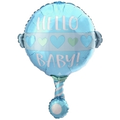 Luftballon zur Geburt und Taufe, Baby Boy Rassel, ungefüllt