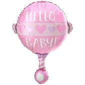 Luftballon zur Geburt und Taufe, Baby Girl Rassel, ungefüllt