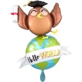 Hello World Globus Luftballon aus Folie ohne Helium Ballongas