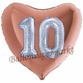Herzluftbalon Jumbo Zahl 10, rosegold-silber-holografisch mit 3D-Effekt zum 10. Geburtstag