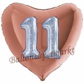 Herluftballon Jumbo Zahl 11, rosegold-silber-holografisch mit 3D-Effekt zum 11. Geburtstag