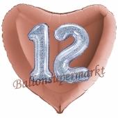 Herzluftballon Jumbo Zahl 12, rosegold-silber-holografisch mit 3D-Effekt zum 12. Geburtstag