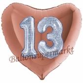 Herzluftballon Jumbo Zahl 13, rosegold-silber-holografisch mit 3D-Effekt zum 13. Geburtstag