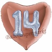 Herzluftballon Jumbo Zahl 14, rosegold-silber-holografisch mit 3D-Effekt zum 14. Geburtstag
