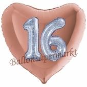 Herzluftballon Jumbo Zahl 16, rosegold-silber-holografisch mit 3D-Effekt zum 16. Geburtstag