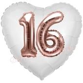 Luftballon Herz Jumbo 16, rosegold mit 3D-Effekt zum 16. Geburtstag