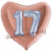 Herzluftballon Jumbo Zahl 17, rosegold-silber-holografisch mit 3D-Effekt zum 17. Geburtstag