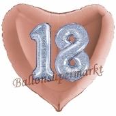 Herzluftballon Jumbo Zahl 18, rosegold-silber-holografisch mit 3D-Effekt zum 18. Geburtstag