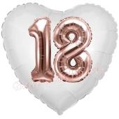 Luftballon Herz Jumbo 18, rosegold mit 3D-Effekt zum 18. Geburtstag