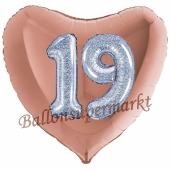 Herzluftballon Jumbo Zahl 19, rosegold-silber-holografisch mit 3D-Effekt zum 19. Geburtstag