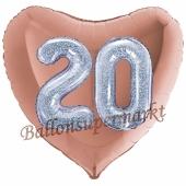 Herzluftballon Jumbo Zahl 20, rosegold-silber-holografisch mit 3D-Effekt zum 20. Geburtstag