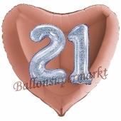 Herzluftballon Jumbo Zahl 21, rosegold-silber-holografisch mit 3D-Effekt zum 21. Geburtstag