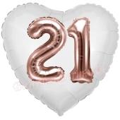Luftballon Herz Jumbo 21, rosegold mit 3D-Effekt zum 21. Geburtstag