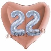 Herzluftballon Jumbo Zahl 22, rosegold-silber-holografisch mit 3D-Effekt zum 22. Geburtstag