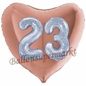 Herzluftballon Jumbo Zahl 23, rosegold-silber-holografisch mit 3D-Effekt zum 23. Geburtstag