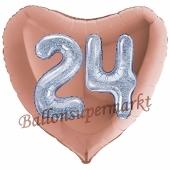Herzluftballon Jumbo Zahl 24, rosegold-silber-holografisch mit 3D-Effekt zum 24. Geburtstag