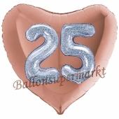 Herzluftballon Jumbo Zahl 25, rosegold-silber-holografisch mit 3D-Effekt zum 25. Geburtstag