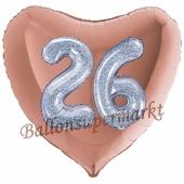 Herzluftballon Jumbo Zahl 26, rosegold-silber-holografisch mit 3D-Effekt zum 26. Geburtstag