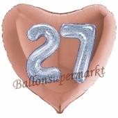 Herzluftballon Jumbo Zahl 27, rosegold-silber-holografisch mit 3D-Effekt zum 27. Geburtstag