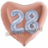 Herzluftballon Jumbo Zahl 28, rosegold-silber-holografisch mit 3D-Effekt zum 28. Geburtstag