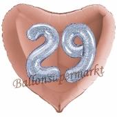 Herzluftballon Jumbo Zahl 29, rosegold-silber-holografisch mit 3D-Effekt zum 29. Geburtstag