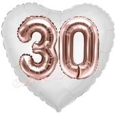 Luftballon Herz Jumbo 30, rosegold mit 3D-Effekt zum 30. Geburtstag