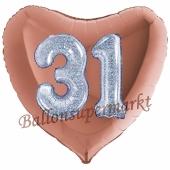 Herzluftballon Jumbo Zahl 31, rosegold-silber-holografisch mit 3D-Effekt zum 31. Geburtstag