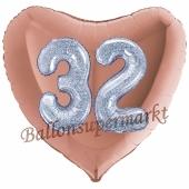 Herzluftballon Jumbo Zahl 32, rosegold-silber-holografisch mit 3D-Effekt zum 32. Geburtstag