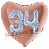 Herzluftballon Jumbo Zahl 34, rosegold-silber-holografisch mit 3D-Effekt zum 34. Geburtstag