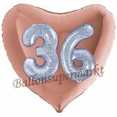 Herzluftballon Jumbo Zahl 36, rosegold-silber-holografisch mit 3D-Effekt zum 36. Geburtstag