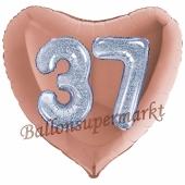 Herzluftballon Jumbo Zahl 37, rosegold-silber-holografisch mit 3D-Effekt zum 37. Geburtstag