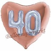 Herzluftballon Jumbo Zahl 40, rosegold-silber-holografisch mit 3D-Effekt zum 40. Geburtstag