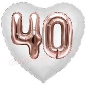 Luftballon Herz Jumbo 40, rosegold mit 3D-Effekt zum 40. Geburtstag