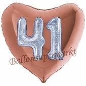 Herzluftballon Jumbo Zahl 41, rosegold-silber-holografisch mit 3D-Effekt zum 41. Geburtstag