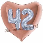 Herzluftballon Jumbo Zahl 42, rosegold-silber-holografisch mit 3D-Effekt zum 42. Geburtstag