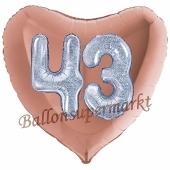 Herzluftballon Jumbo Zahl 43, rosegold-silber-holografisch mit 3D-Effekt zum 43. Geburtstag