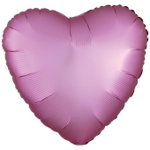 Herzluftballon aus Folie, Matt Flamingo Rosa, Satinglanz, mit Ballongas-Helium
