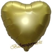 Herzluftballon aus Folie, Matt Gold, Satinglanz, mit Ballongas-Helium