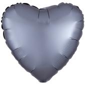 Herzluftballon aus Folie, Matt Graphit, Satinglanz, mit Ballongas-Helium