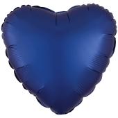 Herzluftballon aus Folie, Matt Marineblau, Satinglanz, mit Ballongas-Helium