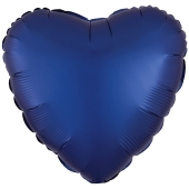 Herzluftballon aus Folie in Matt Marineblau mit Satinglanz