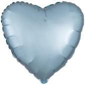 Herzluftballon aus Folie, Matt Pastell Blau, Satinglanz mit Ballongas-Helium