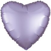 Herzluftballon aus Folie, Matt Pastell Lila, Satinglanz, mit Ballongas-Helium