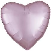 Herzluftballon aus Folie, Matt Pastell Rosa, Satinglanz mit Ballongas-Helium
