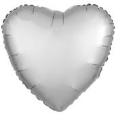Herzluftballon aus Folie, Platinum Silber, Satinglanz, mit Ballongas-Helium