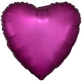 Herzluftballon aus Folie, Matt Granatapfel Pink, Satinglanz, mit Ballongas-Helium