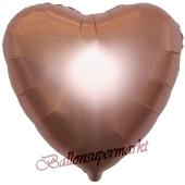 Herzluftballon aus Folie, Matt Rosegold, Satinglanz, mit Ballongas-Helium