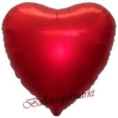 Herzluftballon aus Folie, Matt Rot, Satinglanz, mit Ballongas-Helium